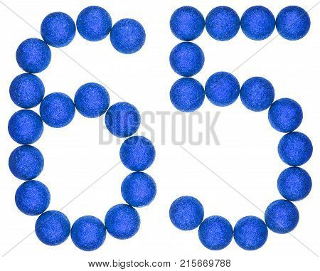 Numeral 65, Sixty Five, From Decorative Balls, Isolated On White Background