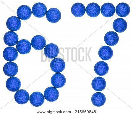 Numeral 67, Sixty Seven, From Decorative Balls, Isolated On White Background