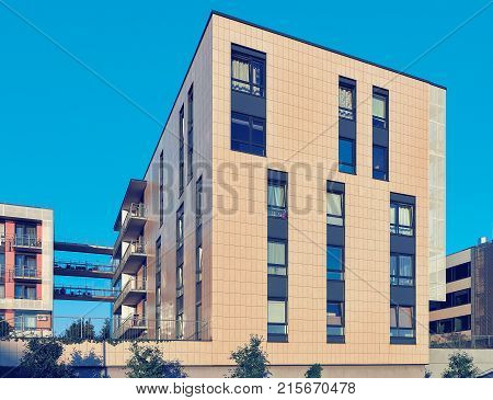 Complex of modern apartment residential building modern arhitecture