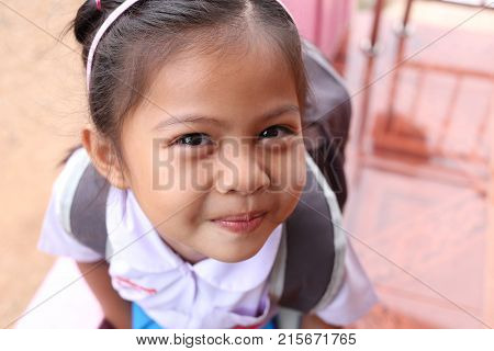 Asian children and lovely cute in school uniformconcept pretty of growth by age.