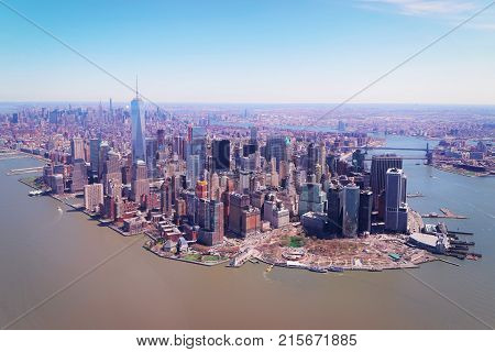 Aerial view on Manhattan with Hudson River and East River New York USA