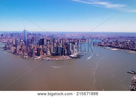 Aerial view on Manhattan with Hudson River and East River NYC New York USA