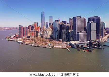 Manhattan and East River and Hudson River New York USA