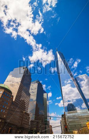 New York USA - April 24 2015: World Financial Center and Freedom Tower in Financial District in Lower Manhattan New York NYC USA