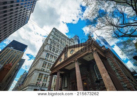 New York USA - April 24 2015: St Paul Chapel in Financial District in Lower Manhattan New York City NYC USA. Freedom Tower on the background