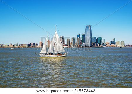 New York USA - April 26 2015: View of New York City Manhattan skyline over Hudson River. Manhattan is the central part of New York NYC USA. It is one of the leading cultural and economic centers