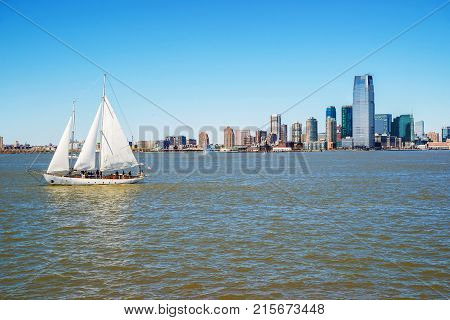 New York USA - April 26 2015: View of New York City Manhattan skyline over Hudson River. Manhattan is central part of New York USA. It is one of leading cultural and economic centers in world