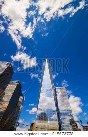 New York USA - April 24 2015: Financial District and Freedom Tower in Lower Manhattan New York NYC USA