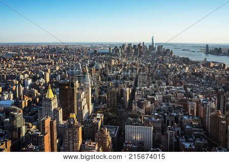 New York USA - April 25 2015: Aerial view from Observatory deck in the Empire State Building on Flatiron district of New York NYC. Downtown Manhattan Lower Manhattan and Brooklyn