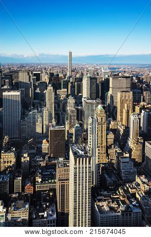 New York USA - April 25 2015: Aerial view from Observatory deck of the Empire State Building on Midtown Manhattan New York NYC USA.