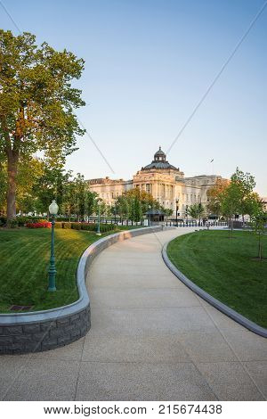 Washington DC USA - May 3 2015: Road to the Library of Congress located in Washington D.C. US. It is a research library which serves for the United States Congress. It was founded on April 24 1800