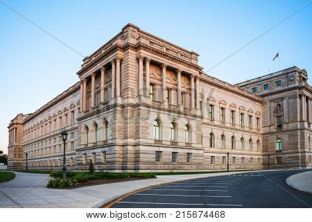 Washington USA - May 3 2015: View at the Library of Congress located in Washington D.C. US. It is research library and serves for US Congress. It is oldest federal cultural institution in US.
