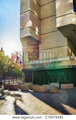 Washington DC USA - May 3 2015: J. Edgar Hoover Building is the headquarters of the Federal Bureau of Investigation or FBI and is situated in Washington D.C. US.