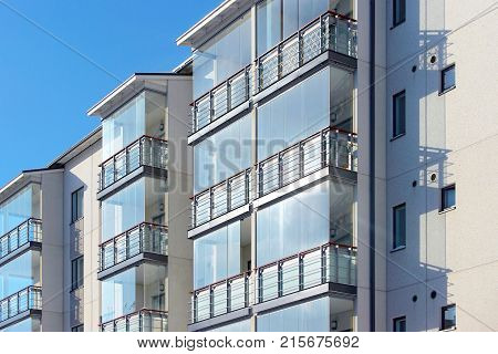 Balconies at modern architecture  apartment residential building