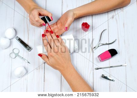 Beautiful Female Hands With Nail Polish. Red Manicure