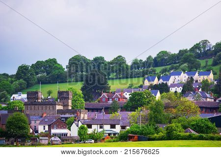 Village with Old houses in Brecknockshire in Brecon Beacons in South Wales. Brecon Beacons is a chain of mountains in the South of Wales of the United Kingdom Great Britain.