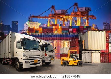 Containers shipping and forklift handling container box loading for import-export commercial logistic ,shipping business industry