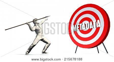 Aiming For Metadata with Bullseye Target on White 3D Render