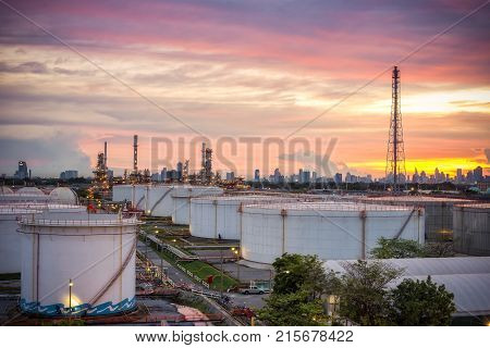 Oil and gas refinery at sunset - factory - petrochemical plant