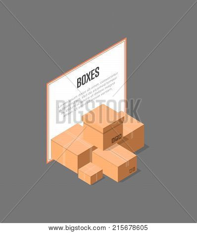 Cardboard delivery boxes isometric banner. Postal design with empty opened and closed paper boxes vector illustration. Commercial delivery tare, goods package, shipping containers symbol.