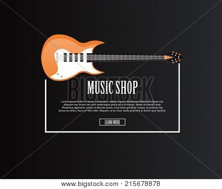 Music shop banner with orange acoustic guitar in flat style. Musical instrument and entertainment sale advertising symbol isolated on black background. Music store logotype vector illustration