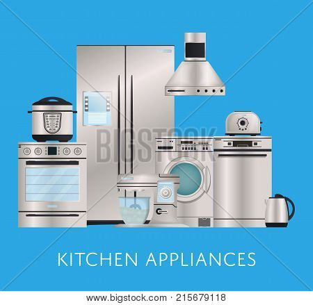 Kitchen electronic appliances retail poster. Refrigerator, washing machine, toaster, electric kettle, air extractor, oven, multi cooker, kitchen mixer. Modern household devices vector illustration.