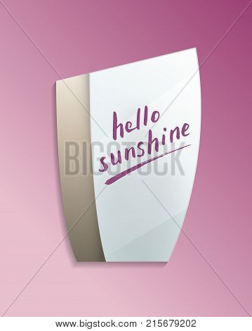 Hello sunshine message on elegant misted mirror. Decorative wall mirror in frame with finger drawn text isolated vector illustration. Realistic bathroom modern furniture design element.
