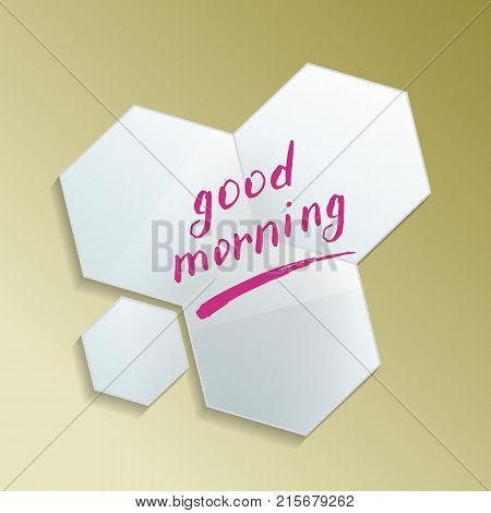 Good morning message on modern design misted mirror. Decorative elegant wall mirror in frame with finger drawn text isolated vector illustration. Realistic bathroom modern furniture element.