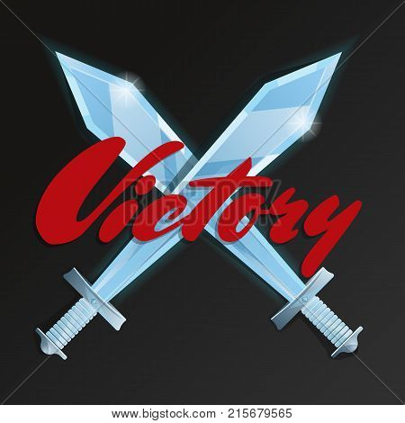 Victory game element with crossed swords. Cartoon medieval weapon for computer game design. Confrontation versus sign, fight opposition concept, fantasy battle competition vector illustration.