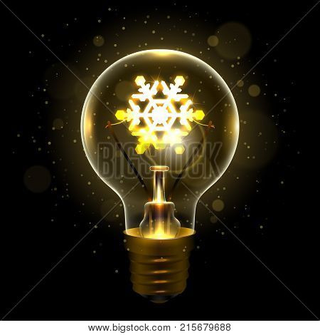 Realistic lamp with the symbol of snowflake instead of the filament of incandescence, isolated on a dark background, vector illustration