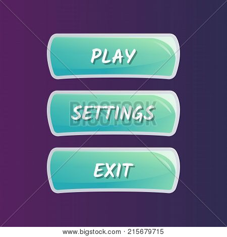 Blue options selection windows in cartoon style. Play, settings and exit buttons. Bright user game design isolated vector illustration