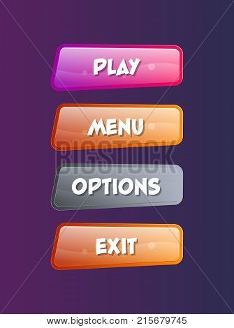 Options selection windows for user interface. Play, menu, options and exit cartoon buttons. Bright GUI design isolated vector illustration