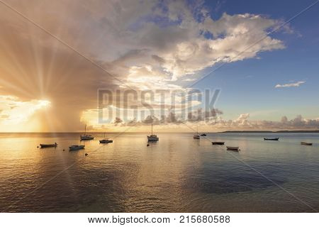 Boats in sunset in Caribbean Sea, Sint Michiel Fishing Port, Curacao
