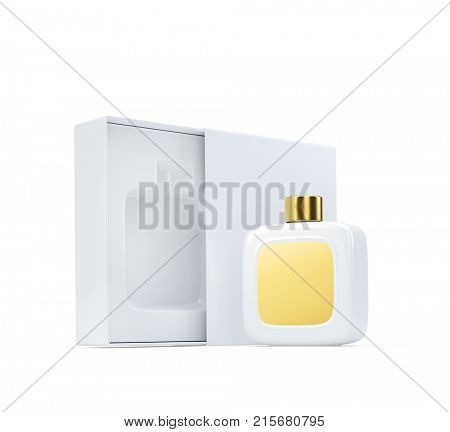 White fragrance perfume bottle mockup with golden label next to open box. 3d render. Isolated on white.