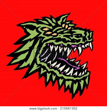 Muzzle of a evil alien wolf monster with open mouth full of fangs. Science fiction original character concept. Vector illustration.