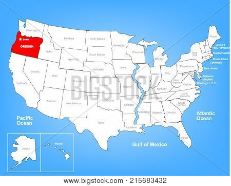 Vector Image of United States Highlighting State of Oregon