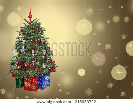 Christmas tree with ornaments and gifts ongold background