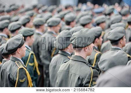 Top view of military soldiers standing in a row on parade. Dnipro, Ukraine - Oct. 13, 2017