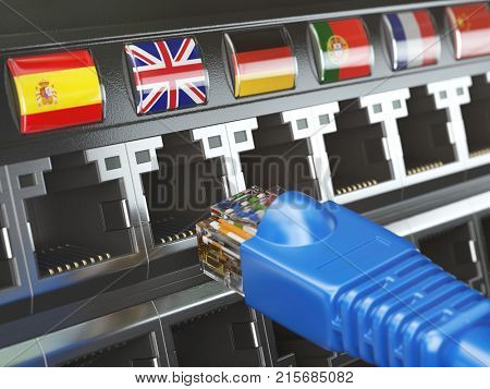 E-learning, translate foreign languages, online vocabilary, multilingual support or change of ip location concept. Flags of countries and ethernet plug and sockets. 3d illustration
