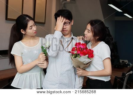 Complicated relationship between three people. Love triangle concept.