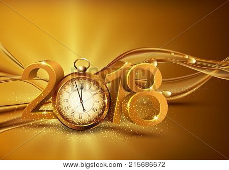 illustration. 3d gold digits 2018, with an old clock instead of zero on a background of abstract golden waves with bubblesFestive background for the new year. Element for the design of a greeting card