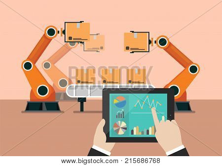 Hand using tablet to control automation robot arm machine in smart factory industrial. vector illustration
