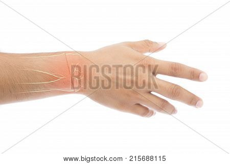 Man has pain in wrist isolate on white background