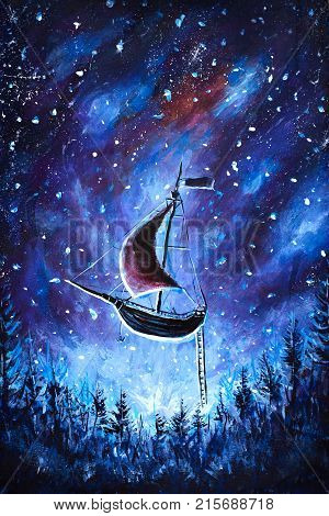 Original oil painting Flying an old pirate ship. Beautiful Sea ship is flying above starry sky - abstract fairy tale dream. Peter Pan. Illustration. Postcard painting.