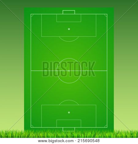 Soccer field with grass on green backdrop. Background for posters, banner with european football field with markup. 3D illustration, ready for print