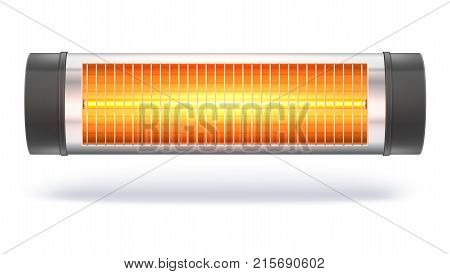 The quartz halogen heater with the glowing lamp, domestic electric heater. Appliance for space heating in the interior. 3D illustration, isolated on white background