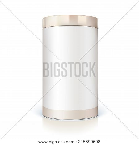 Round tin of packaging for bulk products. Container cylindrical shaped with glossy light, icon of blank round tin can template. Vector 3D illustration isolated on white background.