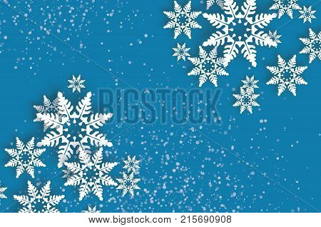 Origami Snowfall. Happy New Year Greetings card. Merry Christmas. White Paper cut snow flake. Winter snowflakes. Holidays. Space for text. Blue background. Vector illustration.