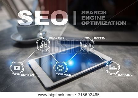 SEO. Search Engine optimization. Digital online marketing technology concept