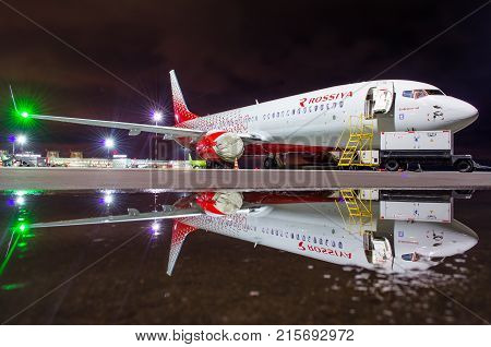 Boeing 737 Rossiya Airlines, Airport Pulkovo, Russia Saint-petersburg 22 November, 2017.